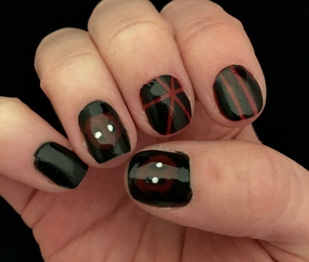 While, in theory, this Deadpool-inspired nail art seemed to be fairly  simple to pull together, its execution turned into ... - Deadpool Nail Art Geeky Musings From A Nerdy Girl
